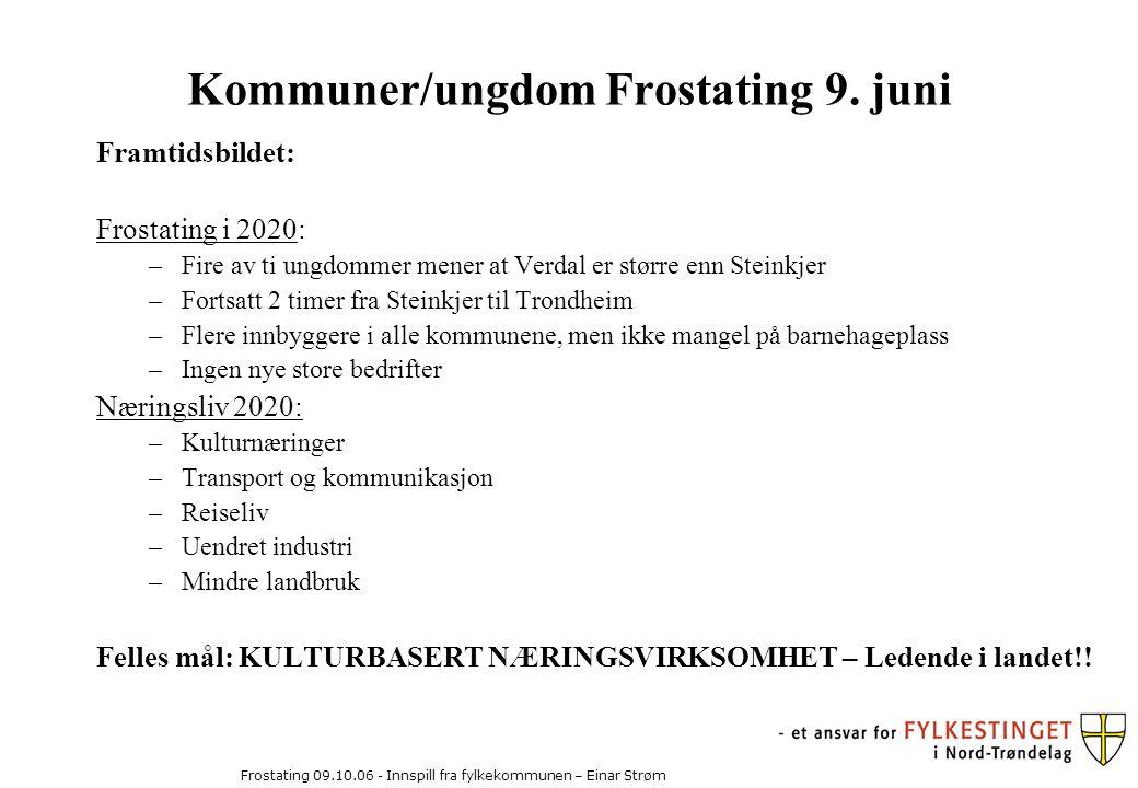 Frostating 09.10.06 - Innspill fra fylkekommunen – Einar Strøm Kommuner/ungdom Frostating 9.