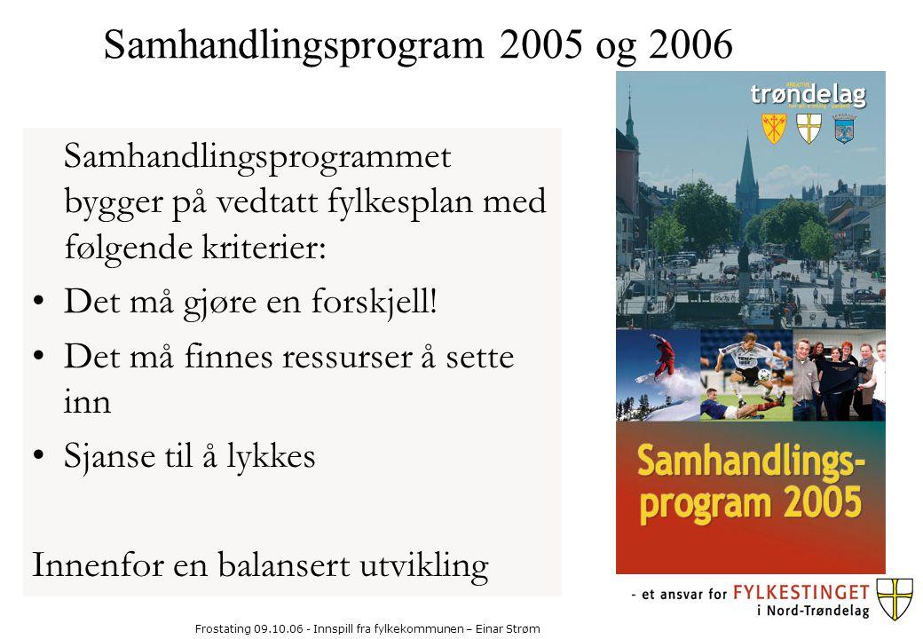 Frostating 09.10.06 - Innspill fra fylkekommunen – Einar Strøm Samhandlingsprogrammet bygger på vedtatt fylkesplan med følgende kriterier: Det må gjøre en forskjell.