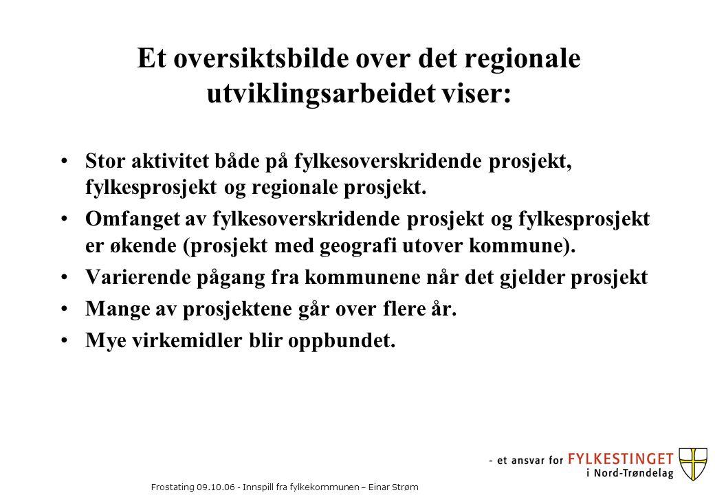 Frostating 09.10.06 - Innspill fra fylkekommunen – Einar Strøm Et oversiktsbilde over det regionale utviklingsarbeidet viser: Stor aktivitet både på fylkesoverskridende prosjekt, fylkesprosjekt og regionale prosjekt.
