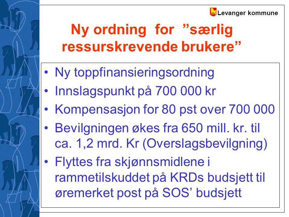 """Levanger kommune Ny ordning for """"særlig ressurskrevende brukere"""" Ny toppfinansieringsordning Innslagspunkt på 700 000 kr Kompensasjon for 80 pst over"""