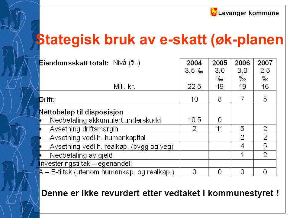 Levanger kommune Stategisk bruk av e-skatt (øk-planen Denne er ikke revurdert etter vedtaket i kommunestyret !