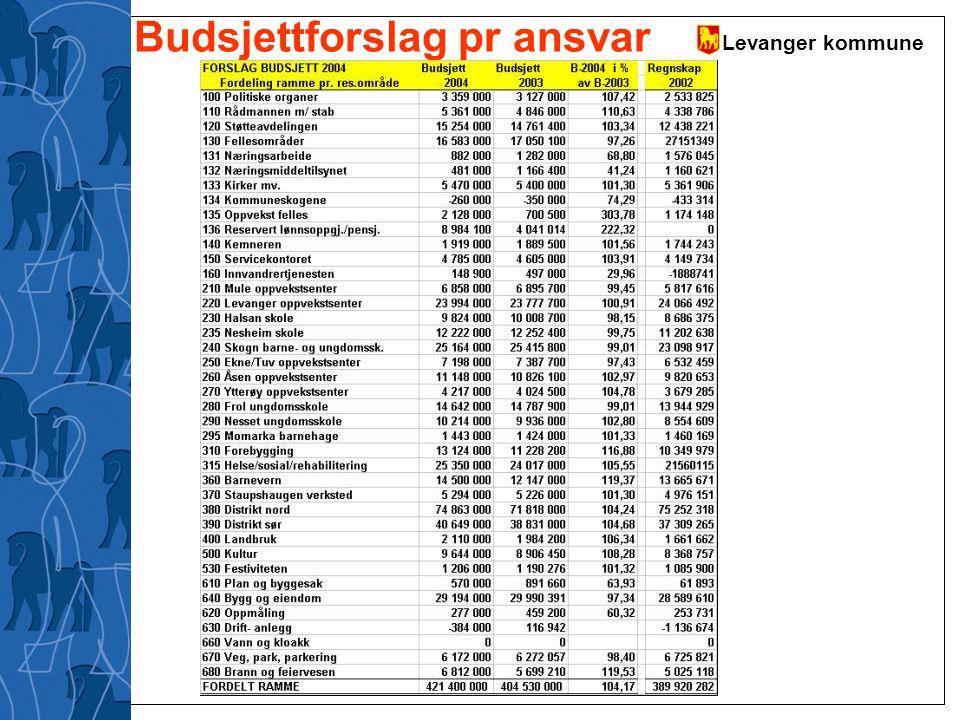 Levanger kommune Budsjettforslag pr ansvar