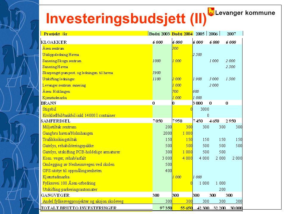 Levanger kommune Investeringsbudsjett (II)