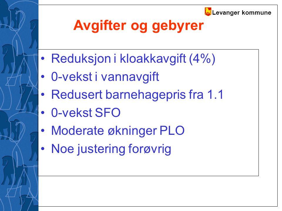 Levanger kommune Avgifter og gebyrer Reduksjon i kloakkavgift (4%) 0-vekst i vannavgift Redusert barnehagepris fra 1.1 0-vekst SFO Moderate økninger P