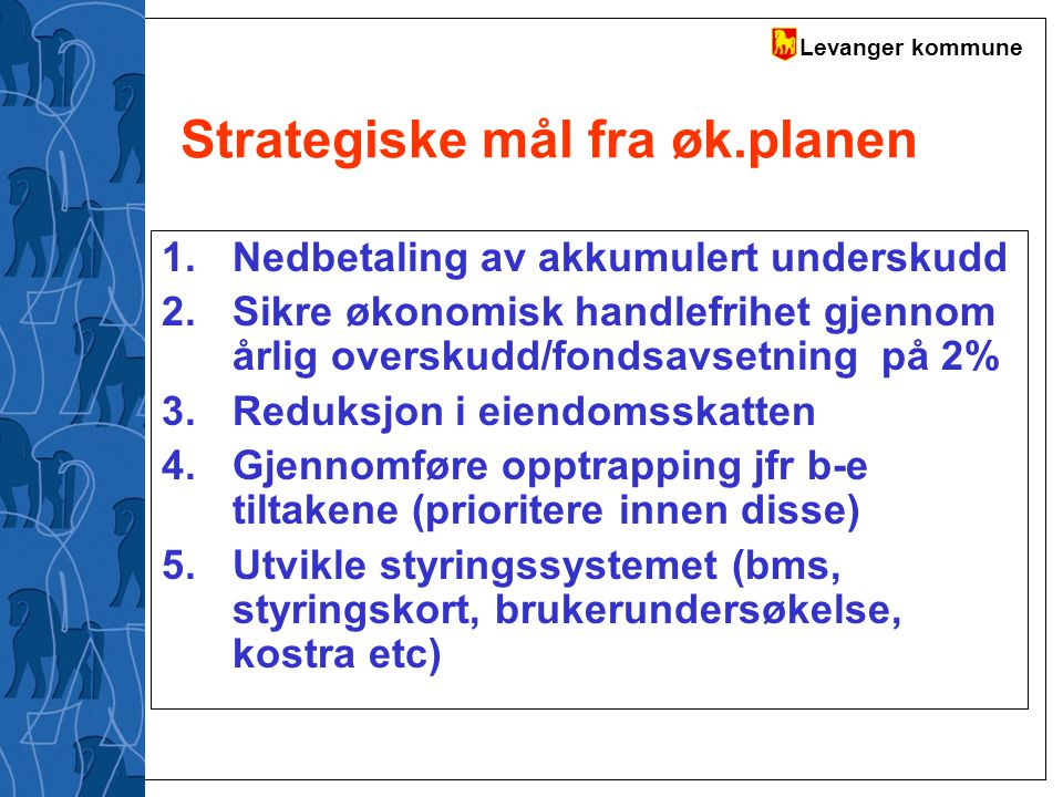 Levanger kommune Investeringsbudsjett (III) Investeringene er redusert med 10% i samsvar med øk-planen