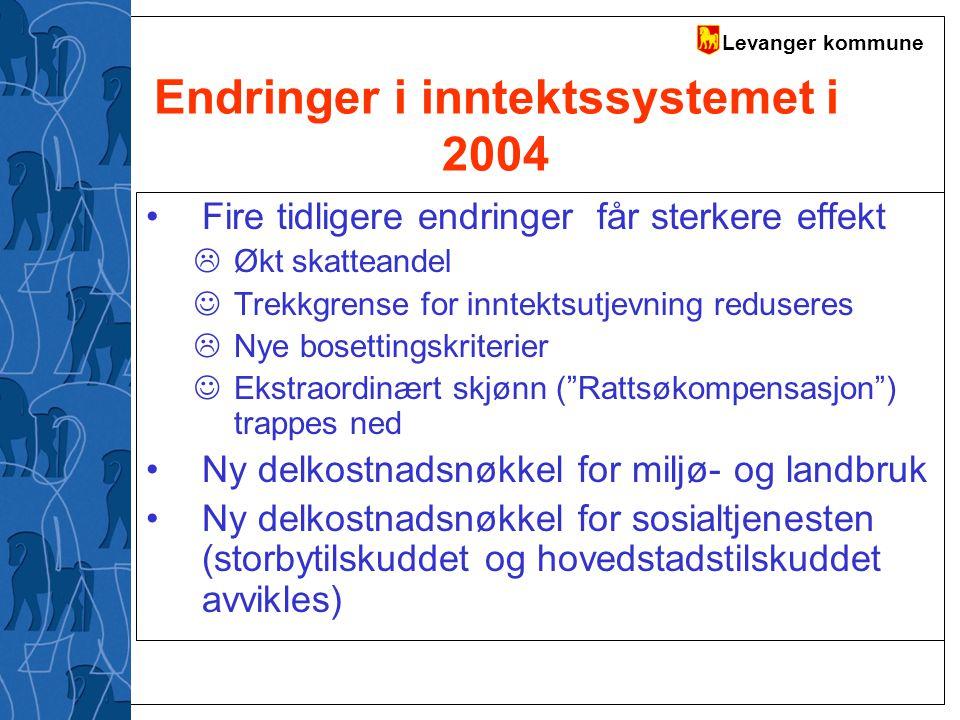 Levanger kommune Endringer i inntektssystemet i 2004 Fire tidligere endringer får sterkere effekt  Økt skatteandel Trekkgrense for inntektsutjevning