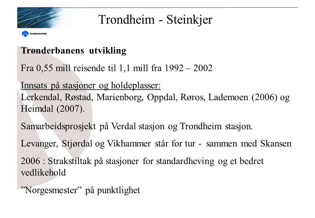 Trondheim - Steinkjer Trønderbanens utvikling Fra 0,55 mill reisende til 1,1 mill fra 1992 – 2002 Innsats på stasjoner og holdeplasser: Lerkendal, Røstad, Marienborg, Oppdal, Røros, Lademoen (2006) og Heimdal (2007).