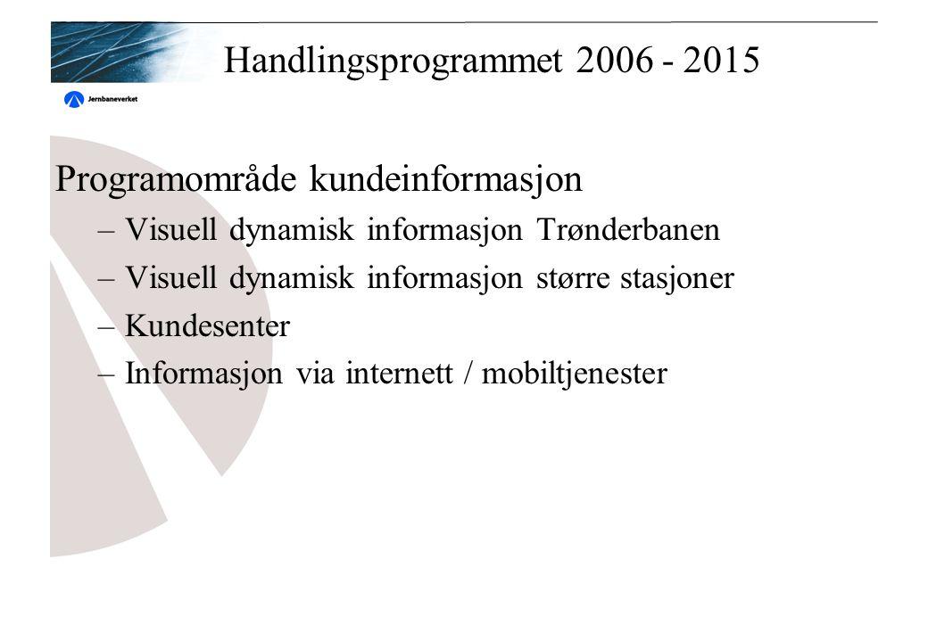 Handlingsprogrammet 2006 - 2015 Programområde kundeinformasjon –Visuell dynamisk informasjon Trønderbanen –Visuell dynamisk informasjon større stasjoner –Kundesenter –Informasjon via internett / mobiltjenester