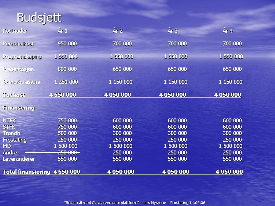 """""""Reisemål med Olavsarven som plattform"""" – Lars Myraune – Frostating 14.03.06 Budsjett KostnaderÅr 1År 2År 3År 4 Personalkost950 000700 000700 000700 0"""