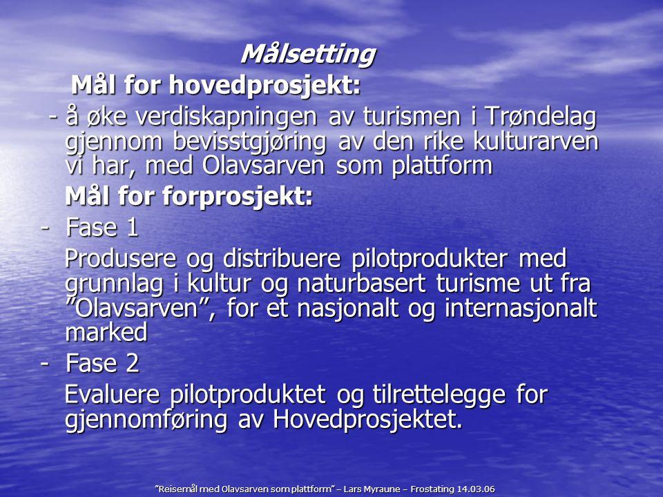 Reisemål med Olavsarven som plattform – Lars Myraune – Frostating 14.03.06 Prosjektgruppe Prosjektgruppe bestående av historiekompetanse, formidlingskompetanse og salg/reiselivskompetanse fra noen av bedriftene som er involvert.