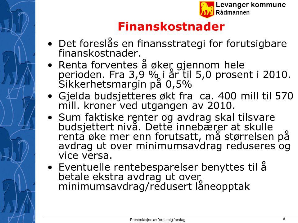Levanger kommune Rådmannen Presentasjon av foreløpig forslag 6 Finanskostnader Det foreslås en finansstrategi for forutsigbare finanskostnader.