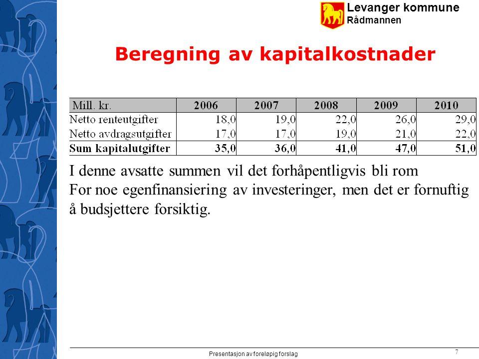 Levanger kommune Rådmannen Presentasjon av foreløpig forslag 7 Beregning av kapitalkostnader I denne avsatte summen vil det forhåpentligvis bli rom For noe egenfinansiering av investeringer, men det er fornuftig å budsjettere forsiktig.