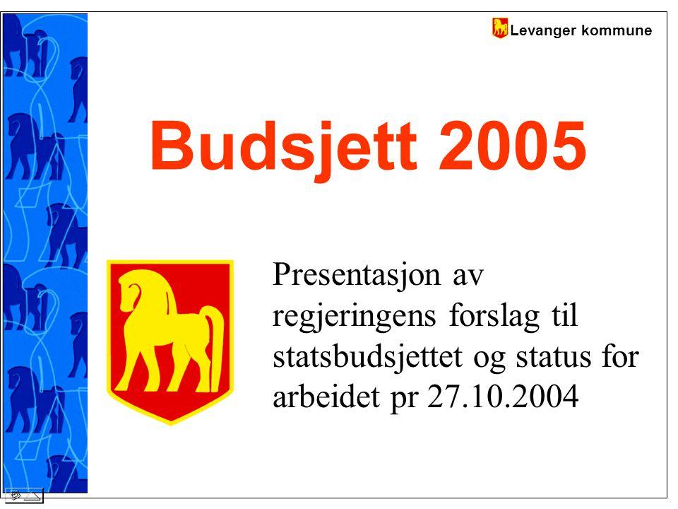 Levanger kommune Budsjett 2005 Presentasjon av regjeringens forslag til statsbudsjettet og status for arbeidet pr 27.10.2004