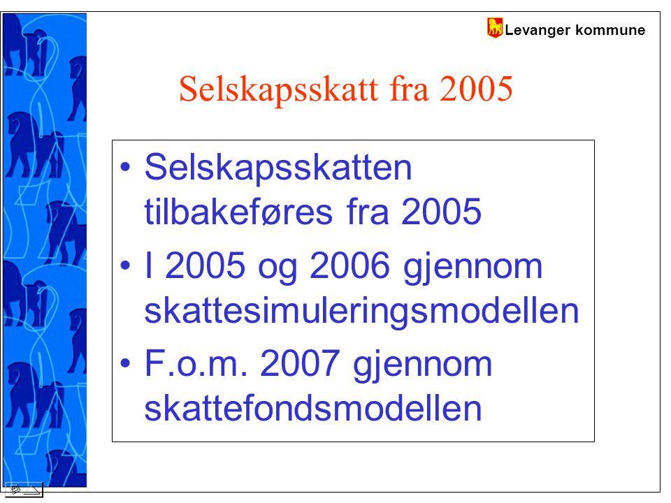 Levanger kommune Selskapsskatt fra 2005 Selskapsskatten tilbakeføres fra 2005 I 2005 og 2006 gjennom skattesimuleringsmodellen F.o.m.