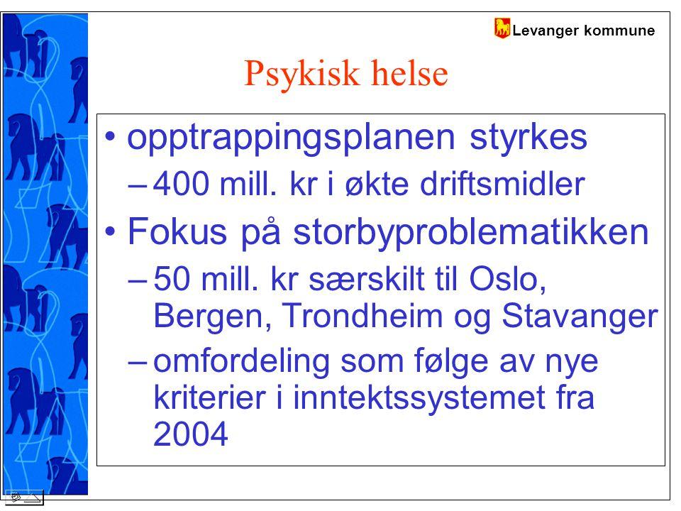 Levanger kommune Psykisk helse opptrappingsplanen styrkes –400 mill.