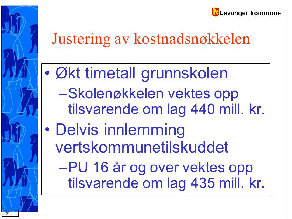 Levanger kommune Justering av kostnadsnøkkelen Økt timetall grunnskolen –Skolenøkkelen vektes opp tilsvarende om lag 440 mill.