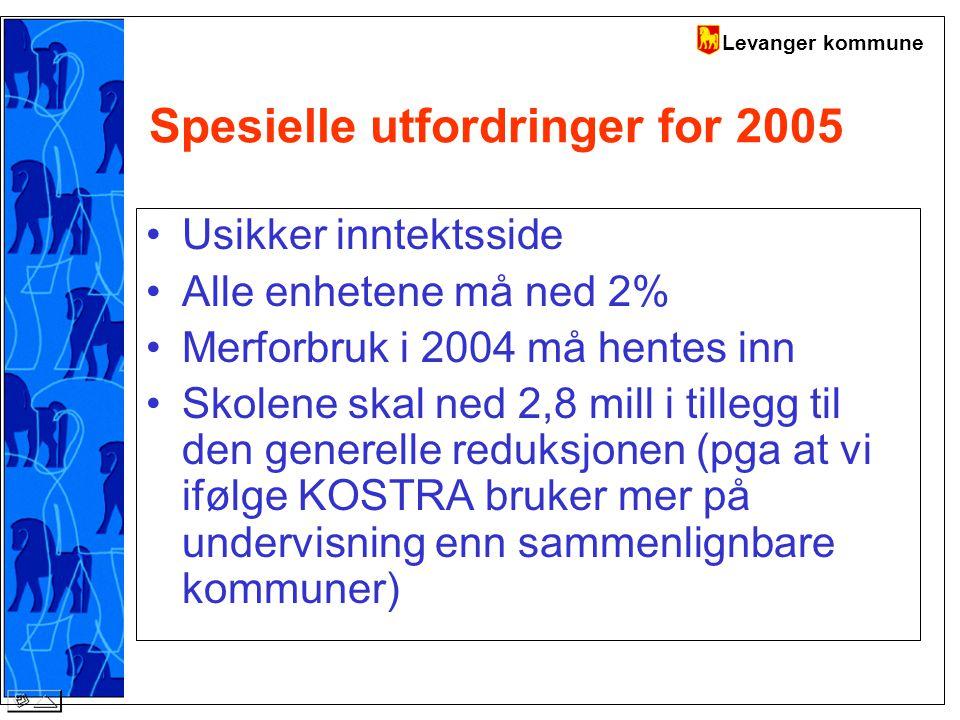 Levanger kommune Spesielle utfordringer for 2005 Usikker inntektsside Alle enhetene må ned 2% Merforbruk i 2004 må hentes inn Skolene skal ned 2,8 mill i tillegg til den generelle reduksjonen (pga at vi ifølge KOSTRA bruker mer på undervisning enn sammenlignbare kommuner)