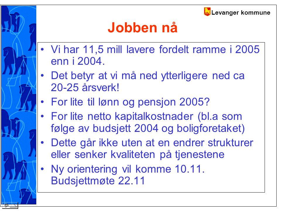 Levanger kommune Jobben nå Vi har 11,5 mill lavere fordelt ramme i 2005 enn i 2004.