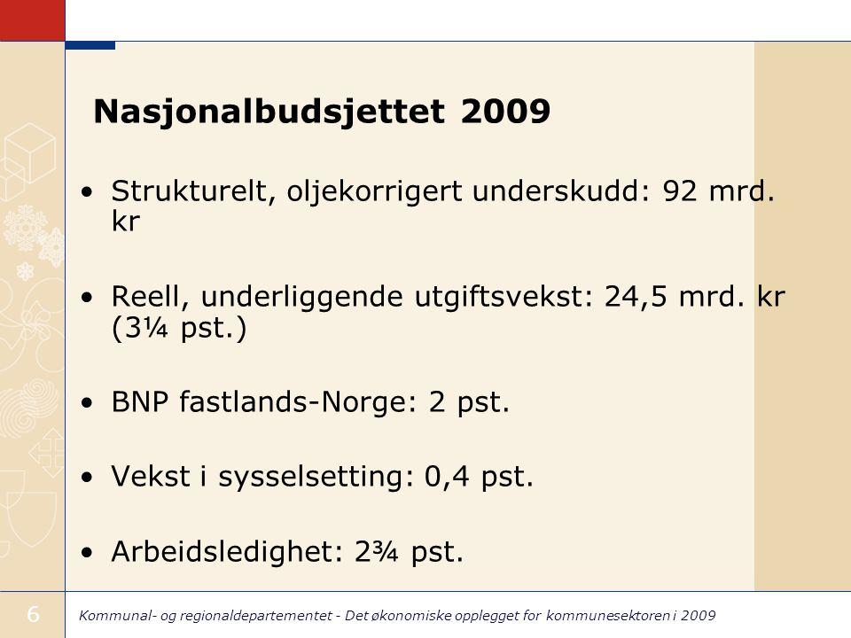 Kommunal- og regionaldepartementet - Det økonomiske opplegget for kommunesektoren i 2009 6 Nasjonalbudsjettet 2009 Strukturelt, oljekorrigert underskudd: 92 mrd.