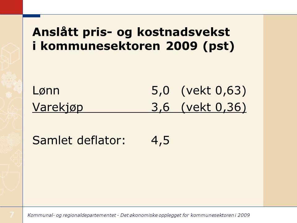 Kommunal- og regionaldepartementet - Det økonomiske opplegget for kommunesektoren i 2009 7 Anslått pris- og kostnadsvekst i kommunesektoren 2009 (pst) Lønn5,0(vekt 0,63) Varekjøp3,6(vekt 0,36) Samlet deflator: 4,5