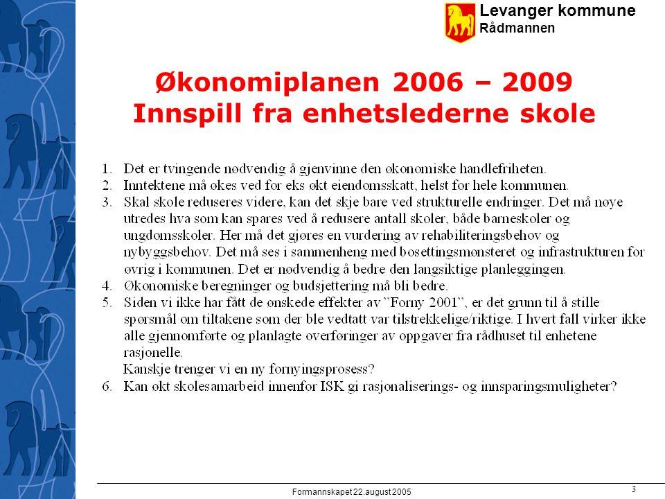 Levanger kommune Rådmannen Formannskapet 22.august 2005 3 Økonomiplanen 2006 – 2009 Innspill fra enhetslederne skole