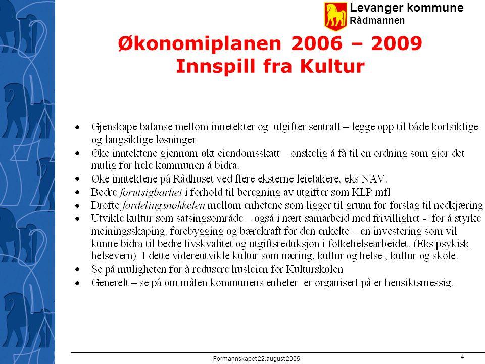 Levanger kommune Rådmannen Formannskapet 22.august 2005 4 Økonomiplanen 2006 – 2009 Innspill fra Kultur