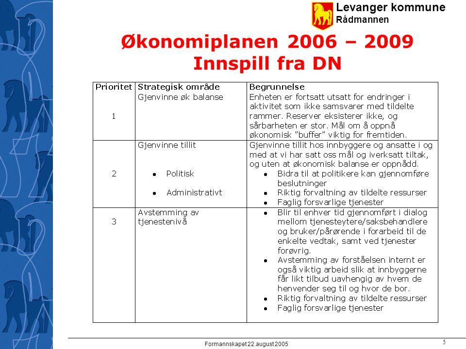 Levanger kommune Rådmannen Formannskapet 22.august 2005 5 Økonomiplanen 2006 – 2009 Innspill fra DN