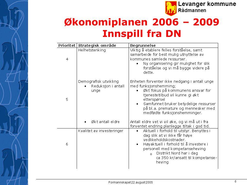 Levanger kommune Rådmannen Formannskapet 22.august 2005 6 Økonomiplanen 2006 – 2009 Innspill fra DN