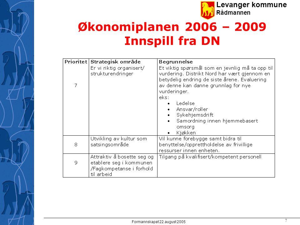 Levanger kommune Rådmannen Formannskapet 22.august 2005 7 Økonomiplanen 2006 – 2009 Innspill fra DN