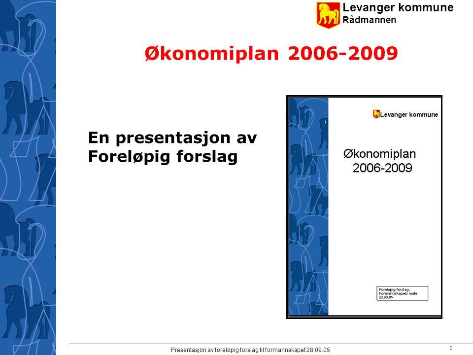 Levanger kommune Rådmannen Presentasjon av foreløpig forslag til formannskapet 28.09.05 1 Økonomiplan 2006-2009 En presentasjon av Foreløpig forslag