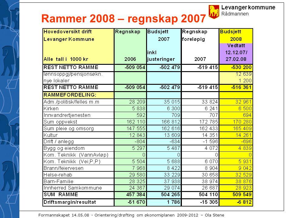 Levanger kommune Rådmannen Formannskapet 14.05.08 - Orientering/drøfting om økonomiplanen 2009-2012 – Ola Stene Rammer 2008 – regnskap 2007