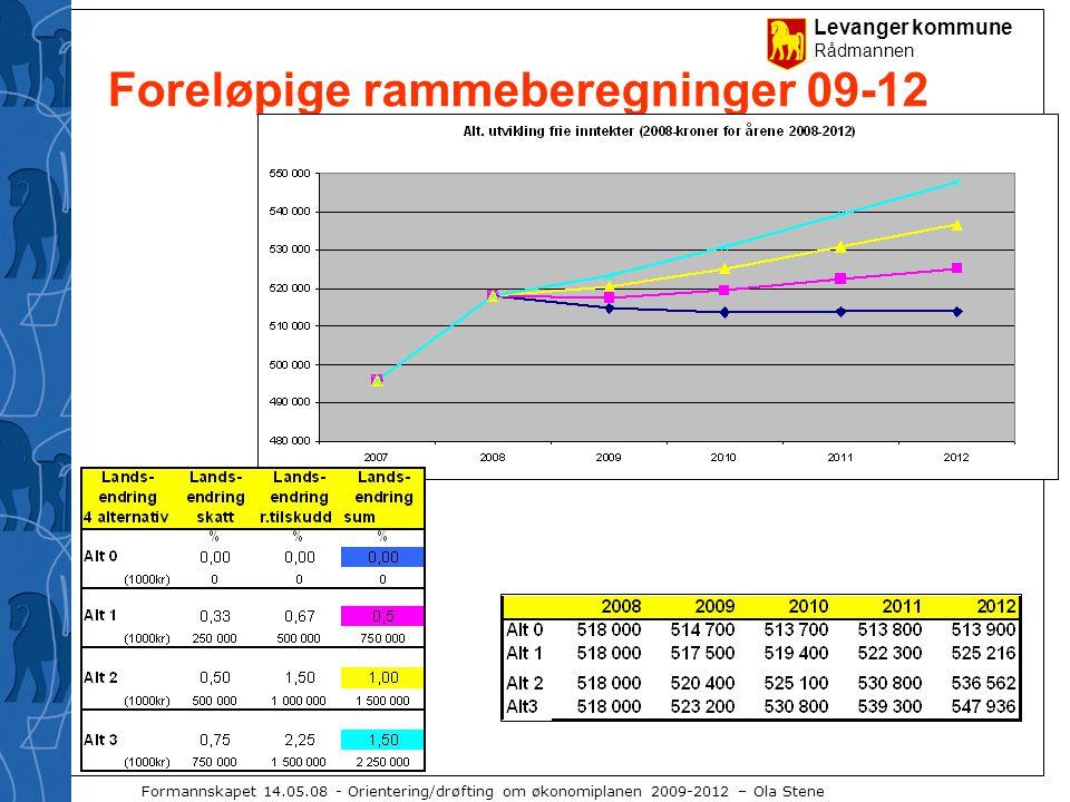 Levanger kommune Rådmannen Formannskapet 14.05.08 - Orientering/drøfting om økonomiplanen 2009-2012 – Ola Stene Foreløpige rammeberegninger 09-12