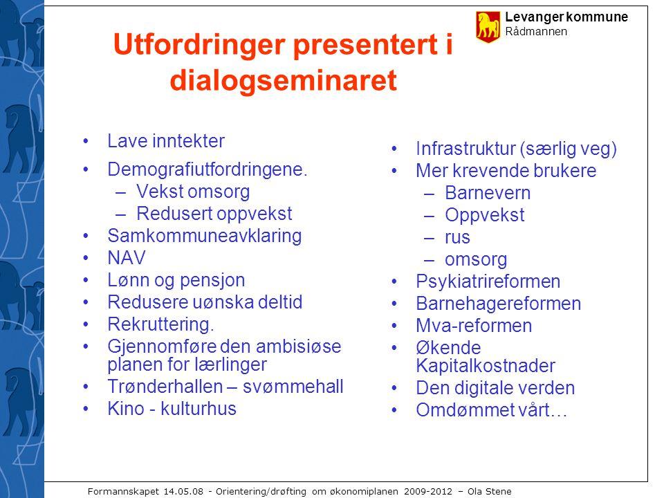 Levanger kommune Rådmannen Formannskapet 14.05.08 - Orientering/drøfting om økonomiplanen 2009-2012 – Ola Stene Utfordringer presentert i dialogseminaret Lave inntekter Demografiutfordringene.