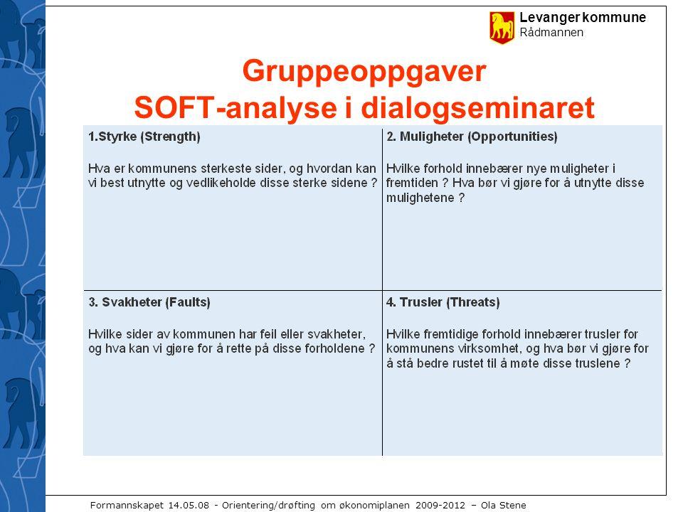 Levanger kommune Rådmannen Formannskapet 14.05.08 - Orientering/drøfting om økonomiplanen 2009-2012 – Ola Stene Gruppeoppgaver SOFT-analyse i dialogseminaret