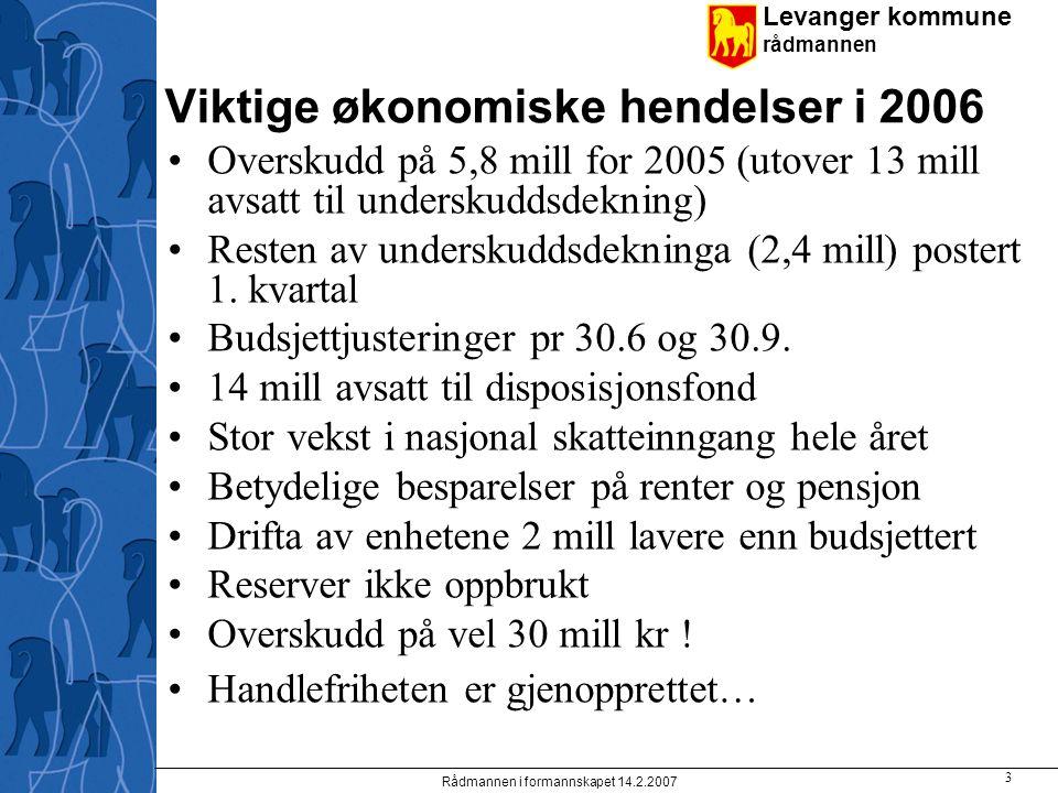 Levanger kommune rådmannen Rådmannen i formannskapet 14.2.2007 3 Viktige økonomiske hendelser i 2006 Overskudd på 5,8 mill for 2005 (utover 13 mill avsatt til underskuddsdekning) Resten av underskuddsdekninga (2,4 mill) postert 1.