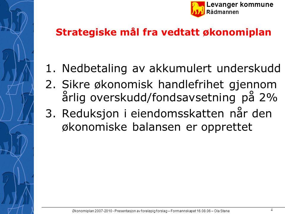Levanger kommune Rådmannen Økonomiplan 2007-2010 - Presentasjon av foreløpig forslag – Formannskapet 16.08.06 – Ola Stene 5 Underskuddsdekningen er postert.