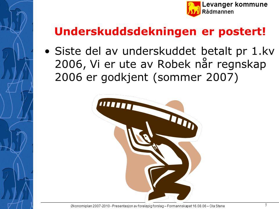 Levanger kommune Rådmannen Økonomiplan 2007-2010 - Presentasjon av foreløpig forslag – Formannskapet 16.08.06 – Ola Stene 6 Vi klarer antakelig 10 mill i + i 2006 Vårt vedtatte mål for driftsresultat (2% blir ikke nådd.