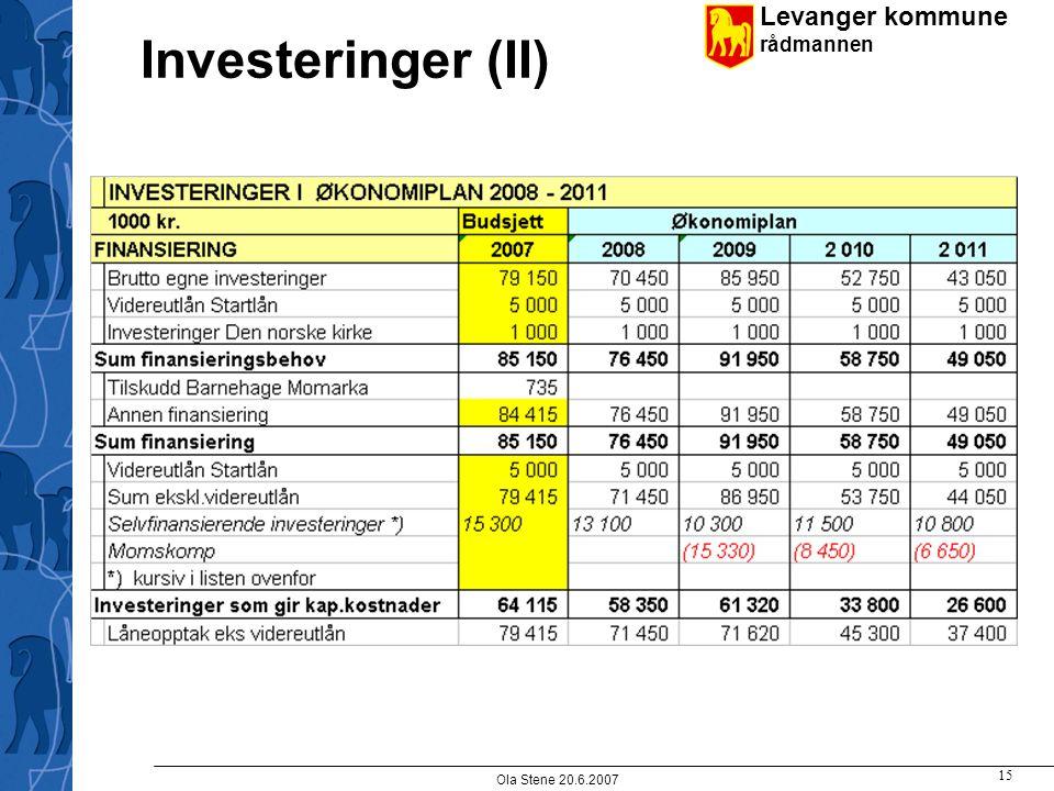 Levanger kommune rådmannen Ola Stene 20.6.2007 15 Investeringer (II)