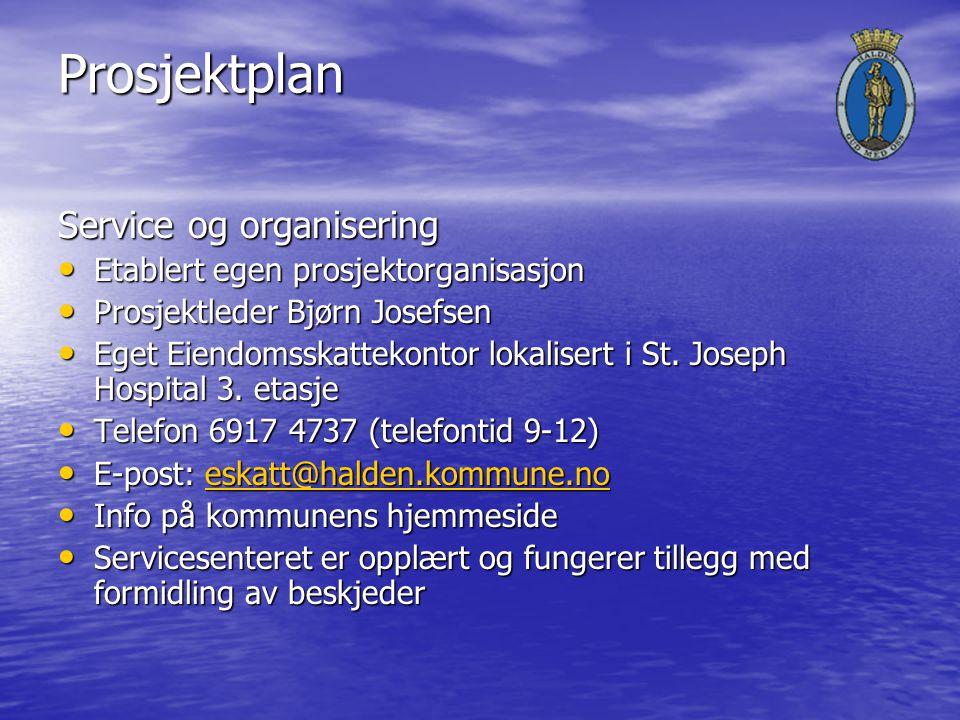 Prosjektplan Service og organisering Etablert egen prosjektorganisasjon Etablert egen prosjektorganisasjon Prosjektleder Bjørn Josefsen Prosjektleder Bjørn Josefsen Eget Eiendomsskattekontor lokalisert i St.