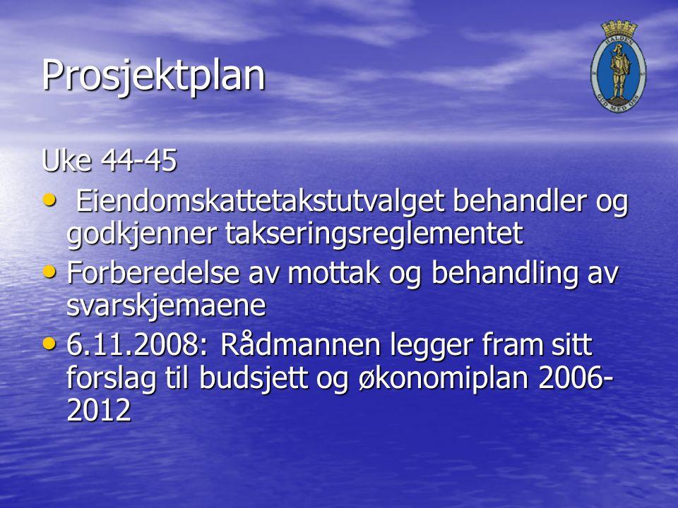Prosjektplan Uke 44-45 Eiendomskattetakstutvalget behandler og godkjenner takseringsreglementet Eiendomskattetakstutvalget behandler og godkjenner takseringsreglementet Forberedelse av mottak og behandling av svarskjemaene Forberedelse av mottak og behandling av svarskjemaene 6.11.2008: Rådmannen legger fram sitt forslag til budsjett og økonomiplan 2006- 2012 6.11.2008: Rådmannen legger fram sitt forslag til budsjett og økonomiplan 2006- 2012