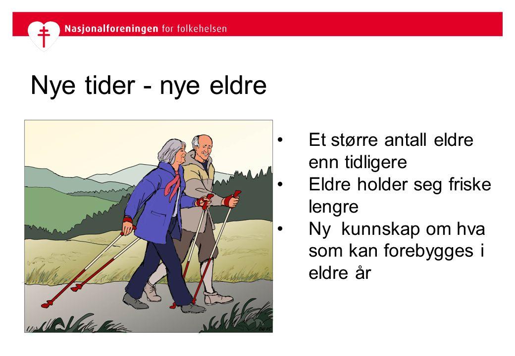 Nye tider - nye eldre Et større antall eldre enn tidligere Eldre holder seg friske lengre Ny kunnskap om hva som kan forebygges i eldre år