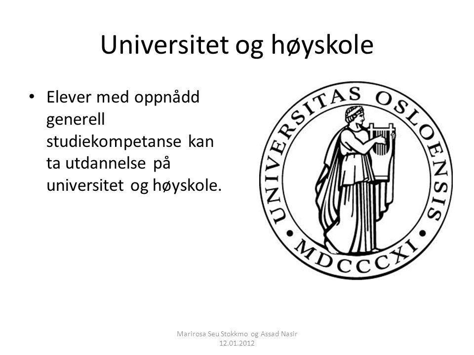 Universitet og høyskole Elever med oppnådd generell studiekompetanse kan ta utdannelse på universitet og høyskole. Marirosa Seu Stokkmo og Assad Nasir