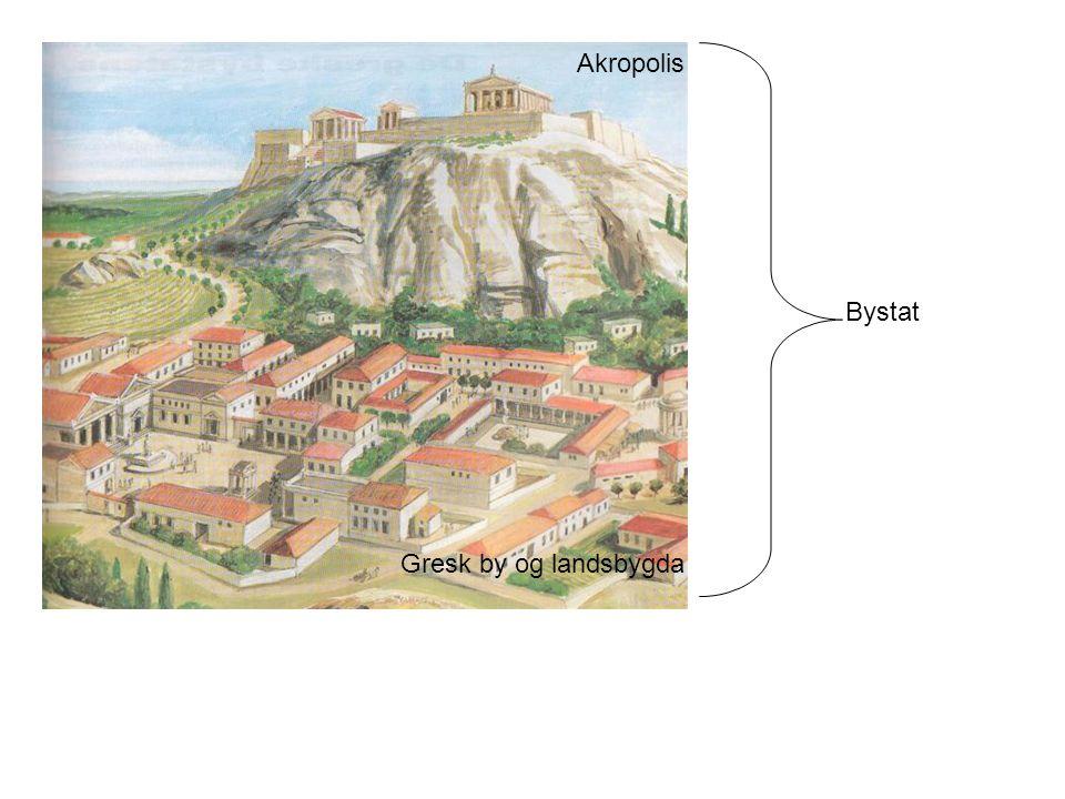 Bystat Akropolis Gresk by og landsbygda