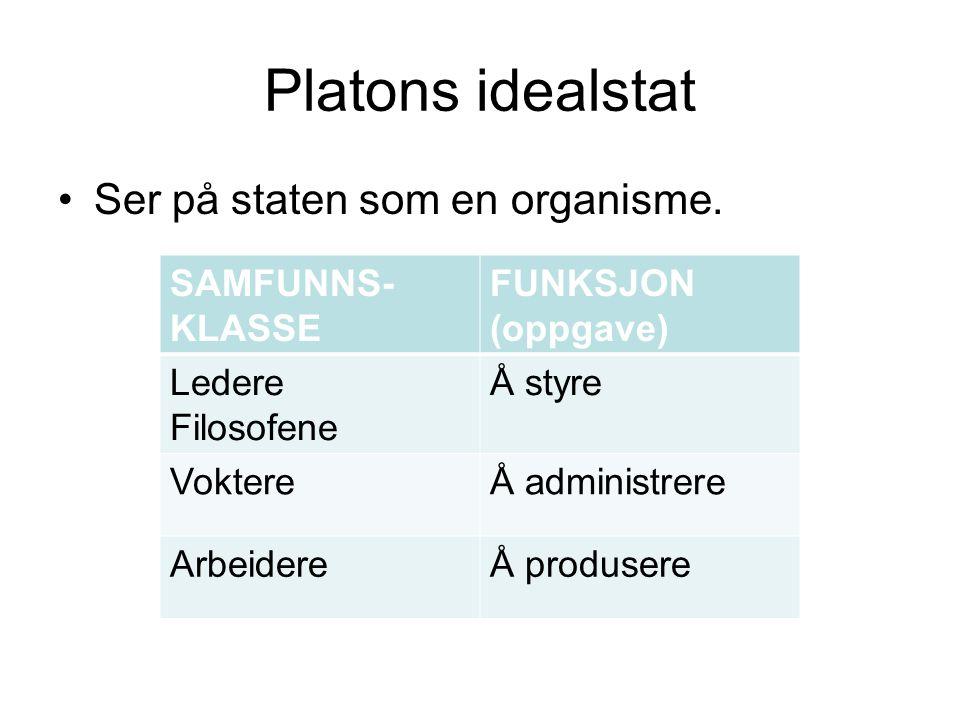 Platons idealstat Ser på staten som en organisme.
