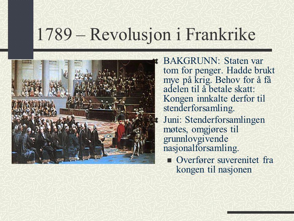1789 – Revolusjon i Frankrike BAKGRUNN: Staten var tom for penger. Hadde brukt mye på krig. Behov for å få adelen til å betale skatt: Kongen innkalte