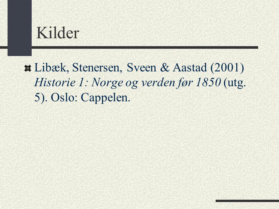 Kilder Libæk, Stenersen, Sveen & Aastad (2001) Historie 1: Norge og verden før 1850 (utg. 5). Oslo: Cappelen.