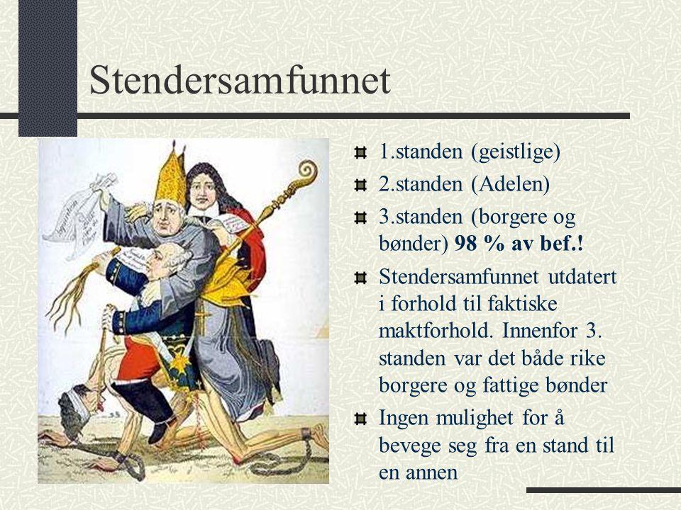 Stendersamfunnet 1.standen (geistlige) 2.standen (Adelen) 3.standen (borgere og bønder) 98 % av bef.! Stendersamfunnet utdatert i forhold til faktiske