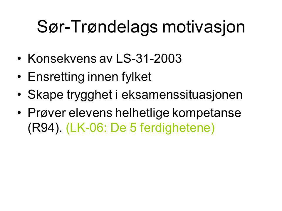 Sør-Trøndelags motivasjon Konsekvens av LS-31-2003 Ensretting innen fylket Skape trygghet i eksamenssituasjonen Prøver elevens helhetlige kompetanse (