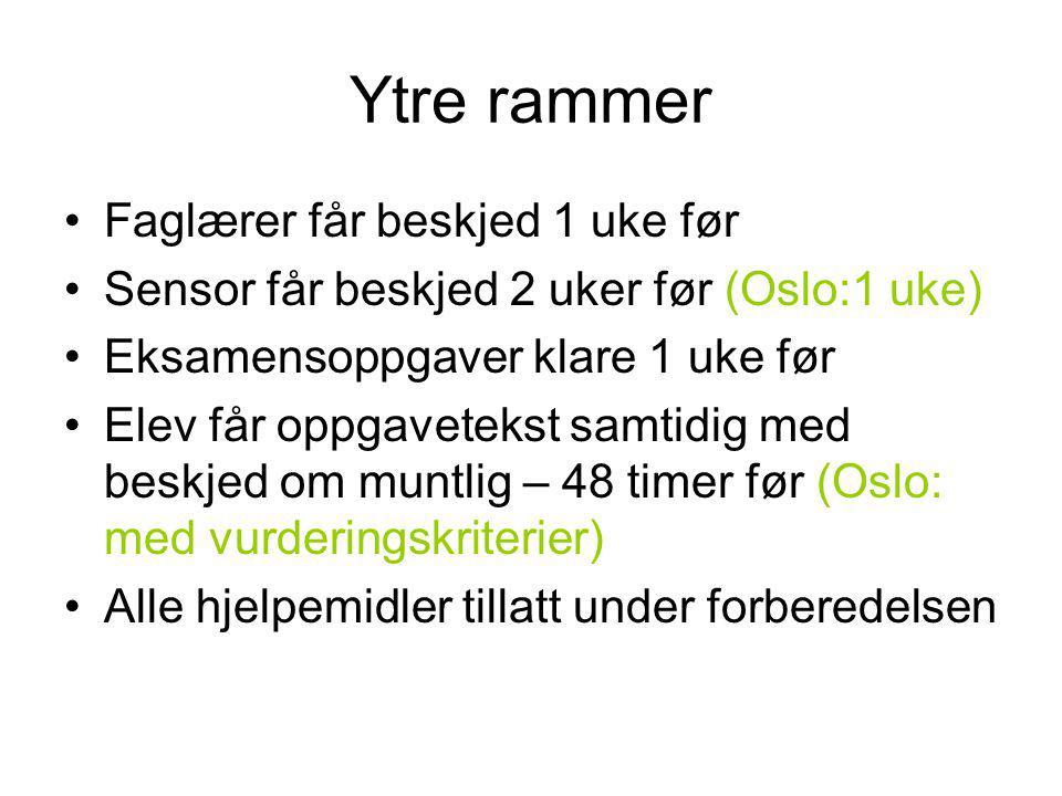 Ytre rammer Faglærer får beskjed 1 uke før Sensor får beskjed 2 uker før (Oslo:1 uke) Eksamensoppgaver klare 1 uke før Elev får oppgavetekst samtidig