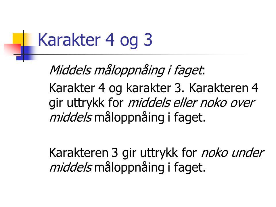 Karakter 4 og 3 Middels måloppnåing i faget: Karakter 4 og karakter 3. Karakteren 4 gir uttrykk for middels eller noko over middels måloppnåing i fage